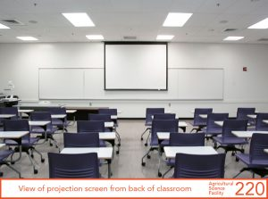 View of projection screen from back of classroom.