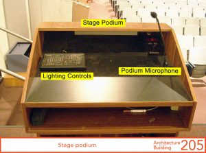 Stage podium's table top