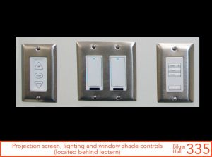 Projection screen, lighting, and window shade controls, located behind lectern