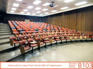 Instructor's view from front left of classroom