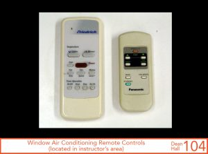 Window air conditioning remote controls, located in instructor's area