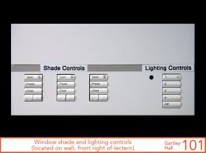 Window shade and lighting controls, located on wall, front right of lectern