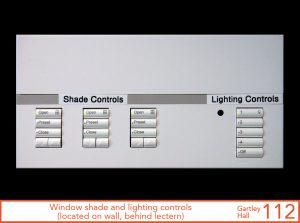 Window shade and lighting controls, located on wall, behind lectern