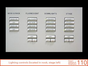 Lighting controls, located in nook, stage left