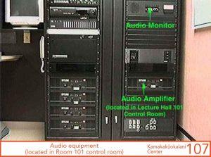 Audio equipment, located in Room 101's control room