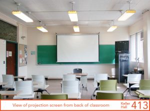 View of projection screen from back of classroom