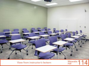 View of classroom from lectern