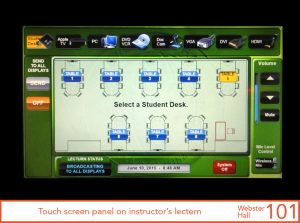 Touch screen panel on instructor's lectern