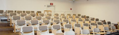 View from front entry and instructor's lectern