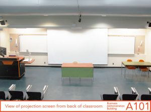 Projection screen from back of classroom