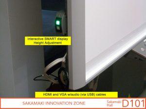 Interactive SMART display height adjustment controls; HDMI and VGA w/audio (via USB) cables