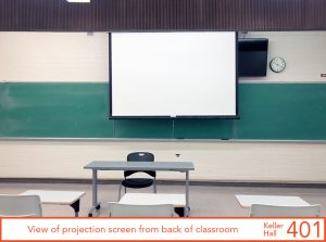View of projection screen from back of classroom, center