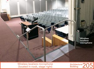 Wireless lavaliere microphone (located in nook, stage right)